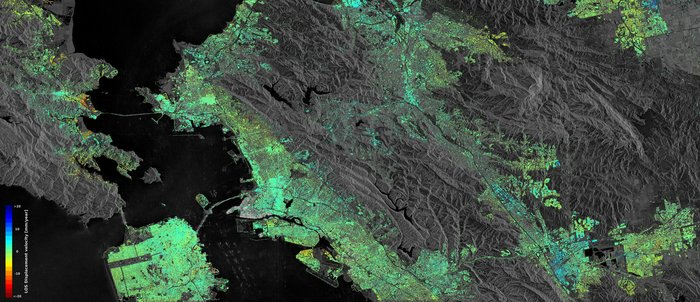Sentinel-1 radar data show ground displacement of the San Francisco Bay Area. Hot spots are clearly observed, including the Hayward fault running north–south of the central-right side of the image. Subsidence of the newly reclaimed land in the San Rafael Bay on the left is also visible, while an uplift of land is visible in the lower right, possibly a result of a recovering groundwater level after a four-year long drought that ended in autumn 2015.