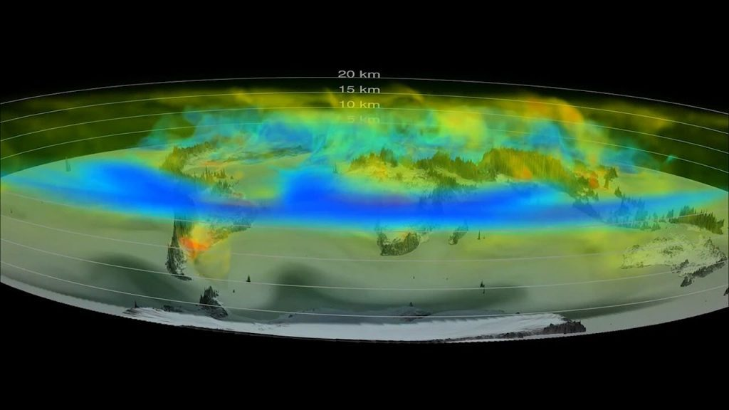 NASA visualization of CO2 in air