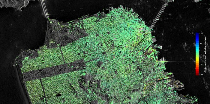 Sentinel-1 radar data show ground displacement of downtown San Francisco. While green indicates no detected movement, points in yellow, orange and red indicate where structures are subsiding, or sinking.