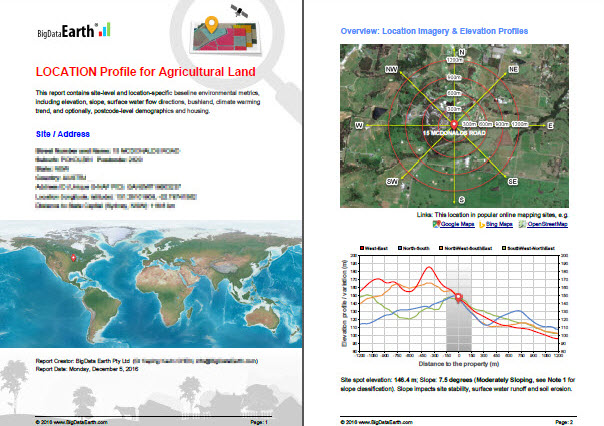 Modern Earth observation technologies (spaceborne, airborne and terrestrial) are increasingly deployed to capture environmental attributes about agricultural land and assets.