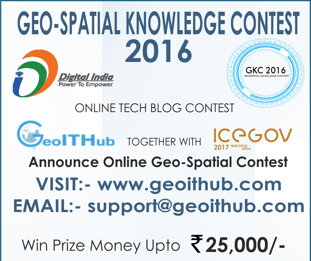 "GeoITHub is organsing first of its kind online ""Geospatial Knowledge Contest"" that focuses on topics like GIS, Location Analytics, Internet of Things, Mobile Technology, Remote Sensing, UAVs, Smart Cities, Business Intelligence, Convergence of GIS with IT, Drones, Artificial Intelligence just to name a few."