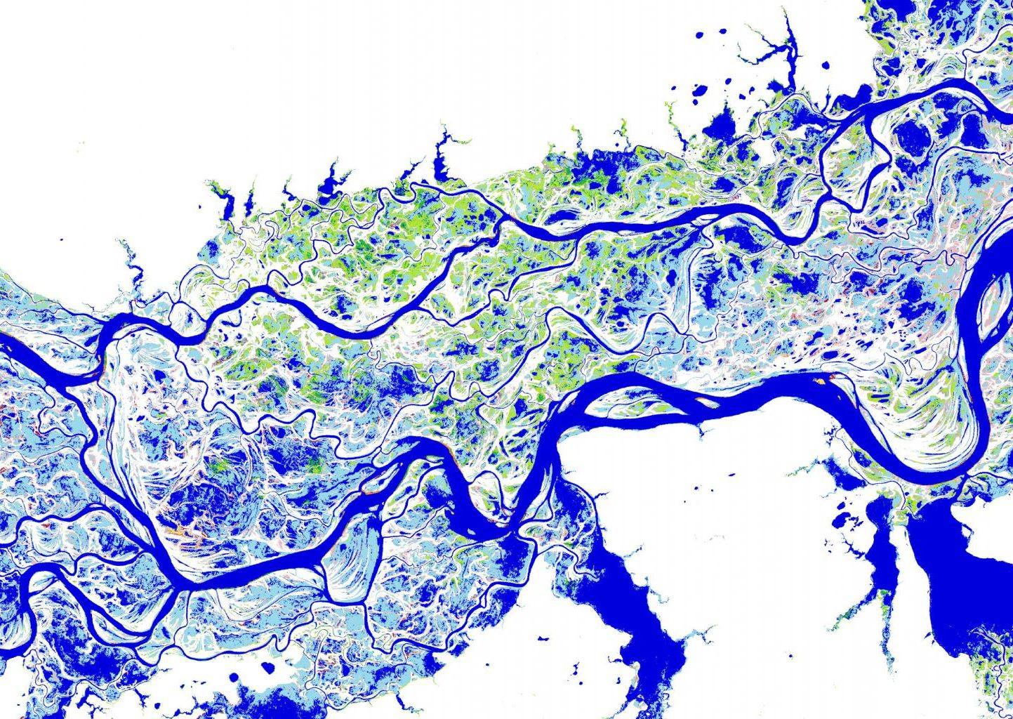 A map showing the distribution and change in surface water over a 32-year period. This particular map shows the River Ob in Siberia, where dark blue colors are areas of permanent water, lighter blue colors are areas of seasonal water, green colors represent new areas of seasonal water, and pink colors represent areas of lost seasonal water. (Image: © EC-Joint Research Centre / Google, 2016)
