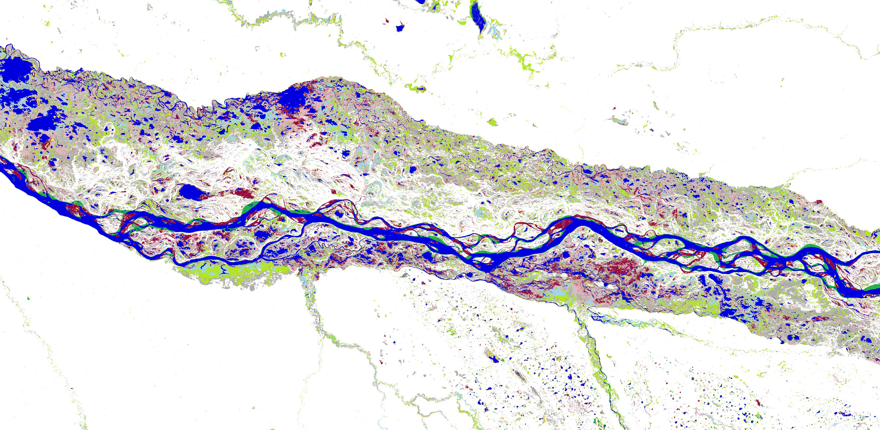This map of the Paraná River in North-Eastern Argentina and shows how rivers meander and move, how floodplains flood intermittently, and how new areas of permanent and seasonal water are being created and lost through time. (Image: © EC-Joint Research Centre / Google, 2016)