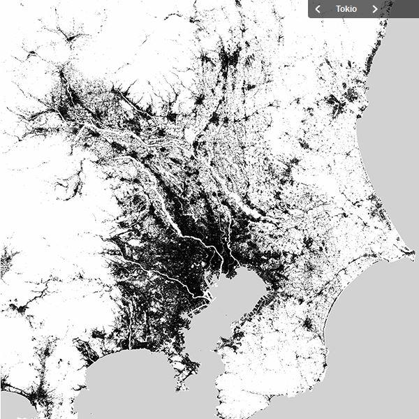 Global Urban Footprint of Tokio, Cairo and Dehli.