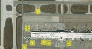 Object recognition results from deep learning software of DigitalGlobe, which has recognised planes that are landed or grounded at an airport
