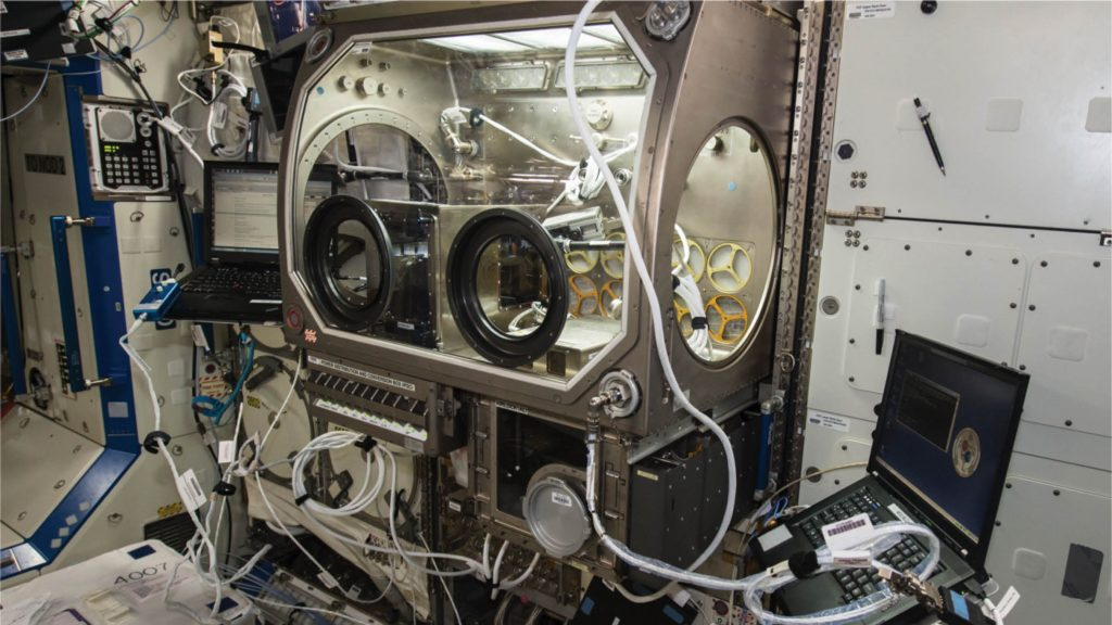 3D printer in Microgravity Science Glovebox on ISS. The first ever 3D printer in space was developed by California startup Made in Space Inc.