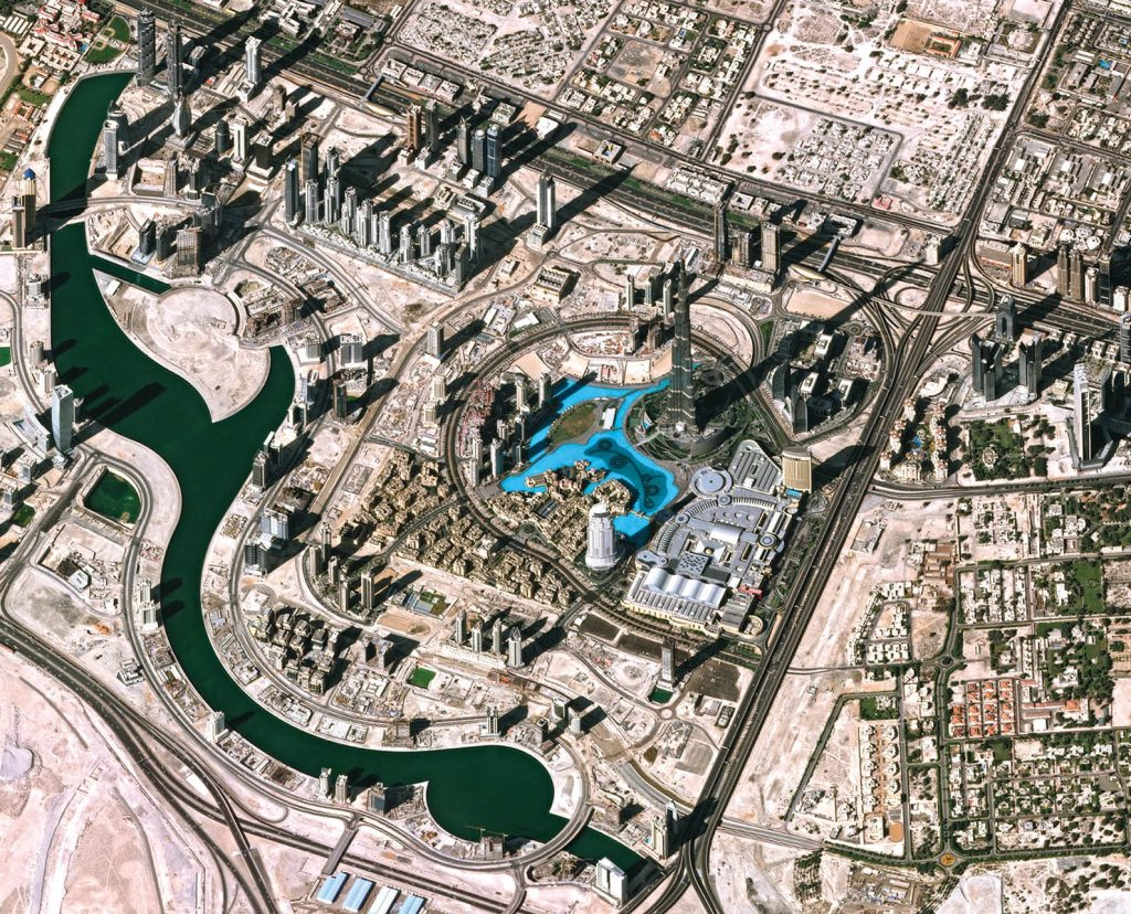 Central Dubai, with the Burj Khalifa Tower, mall and waterscape