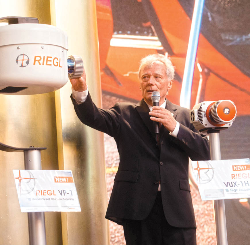 Dr Riegl presenting latest innovations at a RIEGL LiDAR user conference in Hong Kong