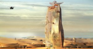 "Manal Rachdi's proposed ""City Sand Tower"" to sustain a new population in the Moroccan desert"