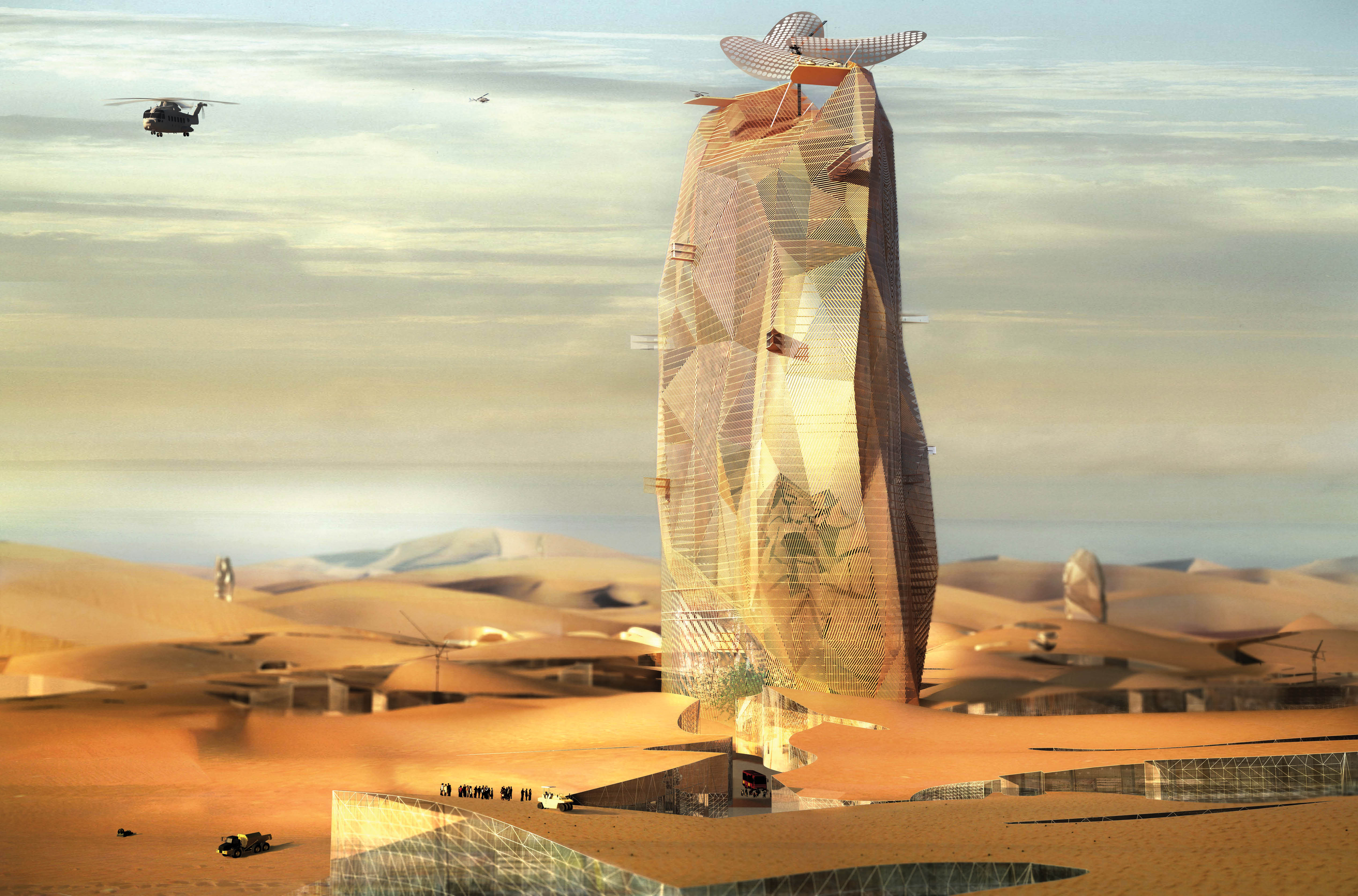 """Astrospatial Architecture - Manal Rachdi's proposed """"City Sand Tower"""" to sustain a new population in the Moroccan desert"""