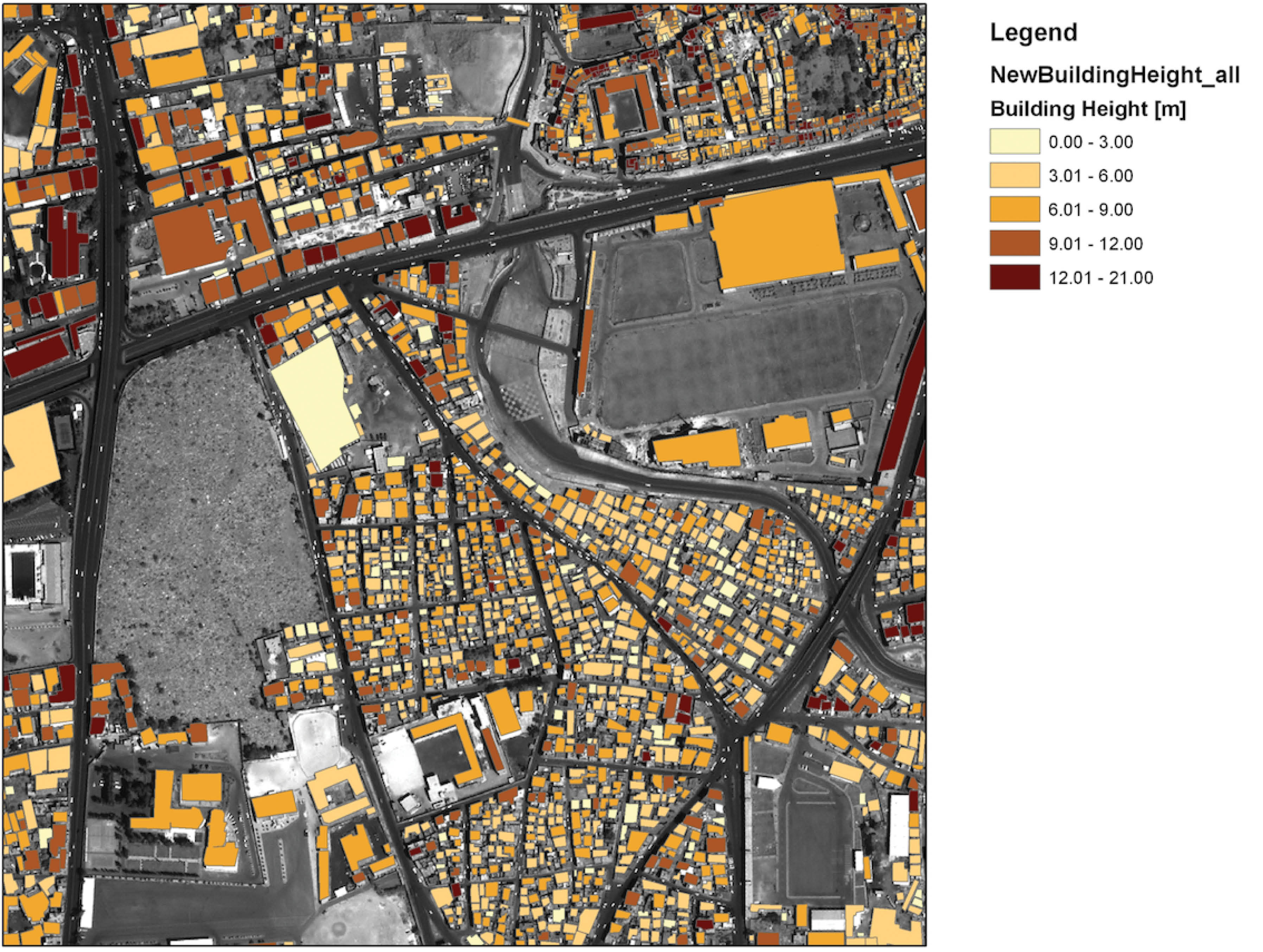 Map of Sana'a, Yemen, showing building footprints, heights and structural materials, generated from Alpha-Tree analysis of satellite images, for the Global Human Settlement Layer, a contribution to the GEOSS and Digital Earth visions