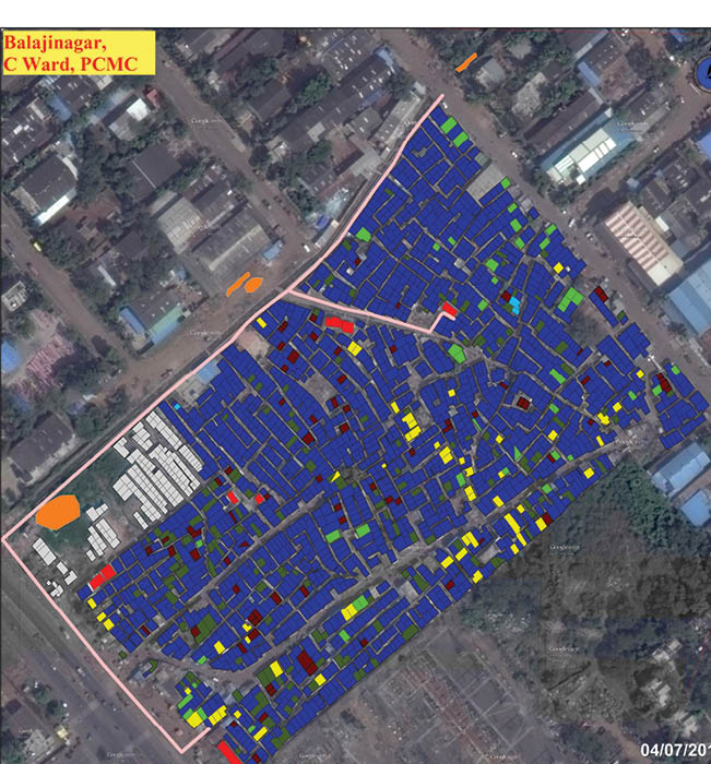 Pre intervention: Identifying the current places for defecation in Balajinagar settlement, Pimpri-Chinchwad