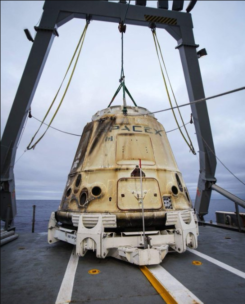 SpaceX tweeted this photo of Dragon after the splashdown.