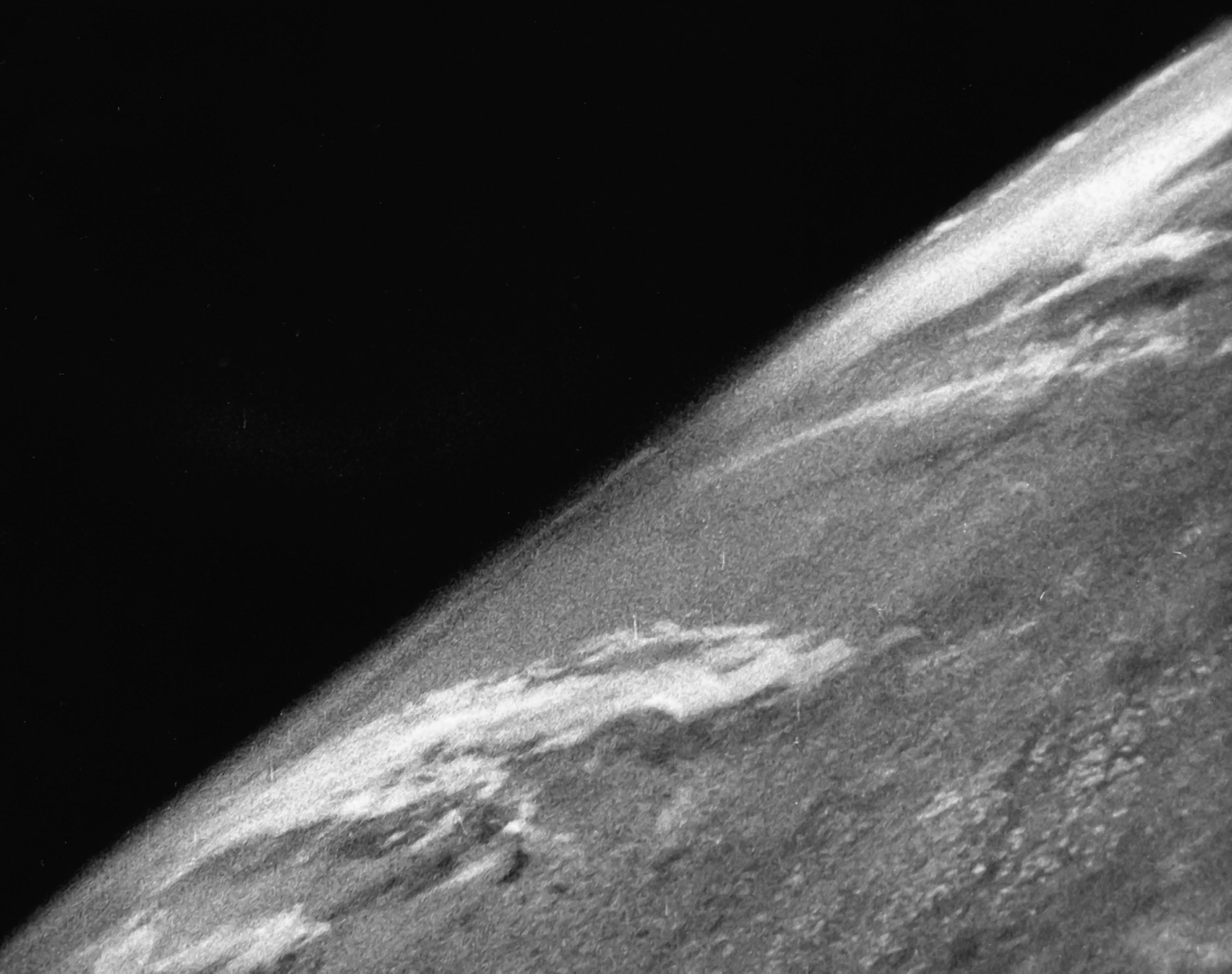 The world's first earth observation photograph from space: captured by a 35mm camera aboard the US Army's V-2 #13 missile, launched from the White Sands Missile Base, New Mexico, United States, October 24, 1946