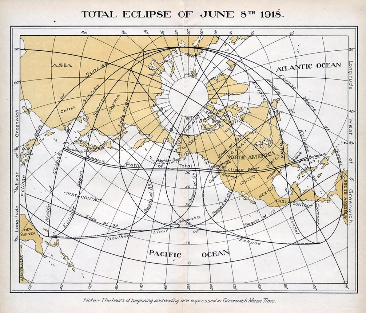 In 1918 a total solar eclipse took a similar path across North America.