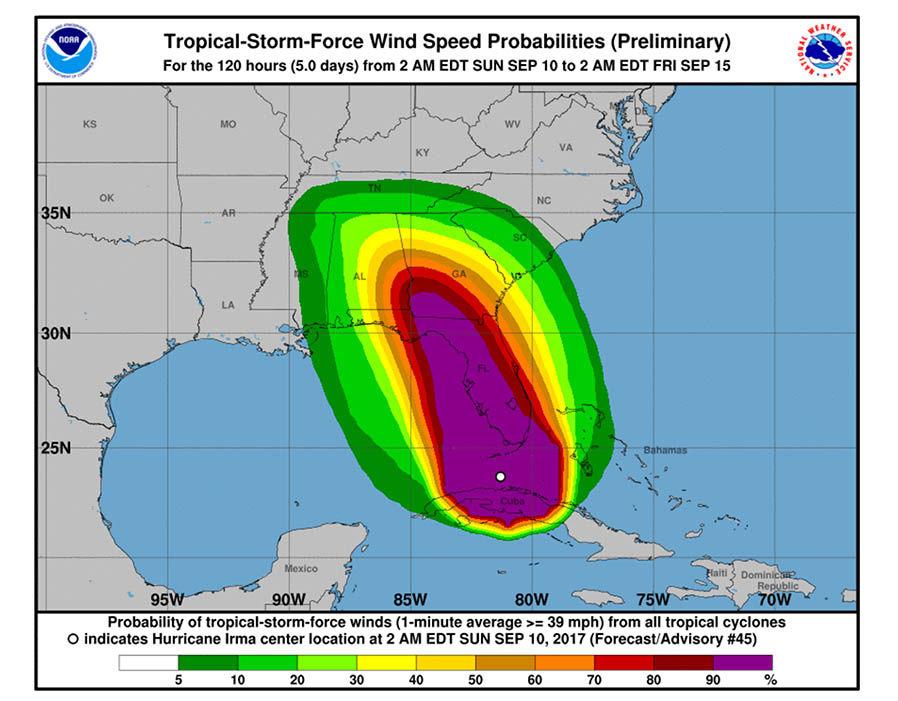 Hurricane Irma Wind Map NOAA maps can save you from Hurricane Irma's fury