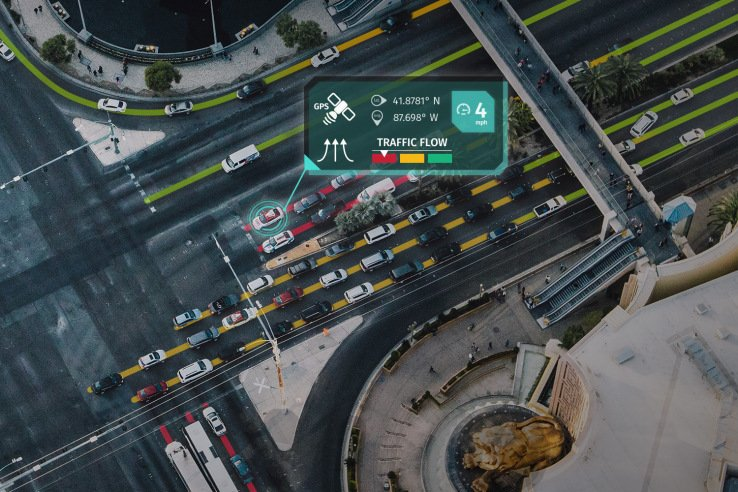 An autonomous car sharing real-time traffic information with other cars
