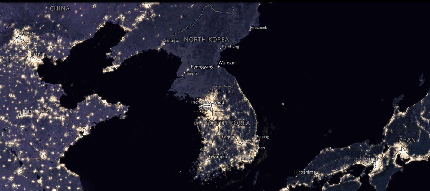 Satellite imagery at night shows the sharp contrast between North and South Korea.