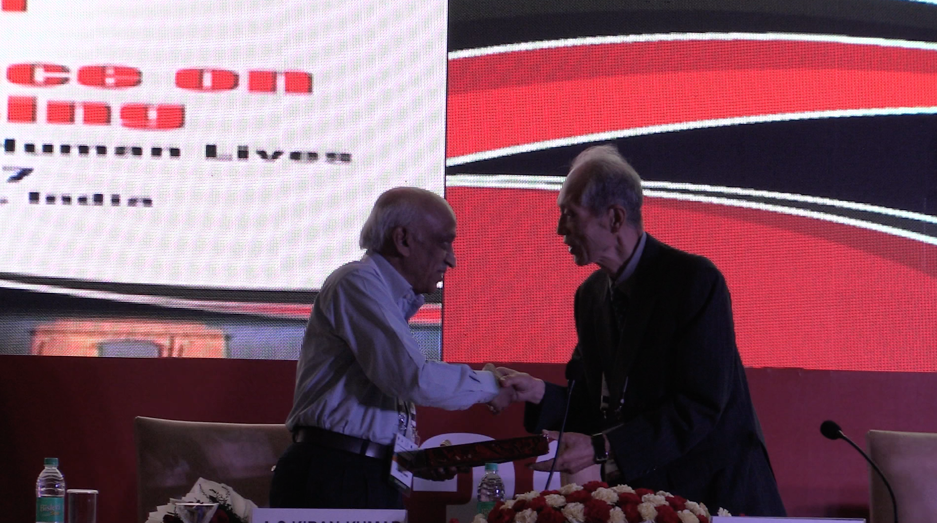 ISRO chief Kiran Kumar with ACRS founder and eminent scientist Dr Shunji Murai, at the 38th Asian Remote Sensing Conference, being held in New Delhi.