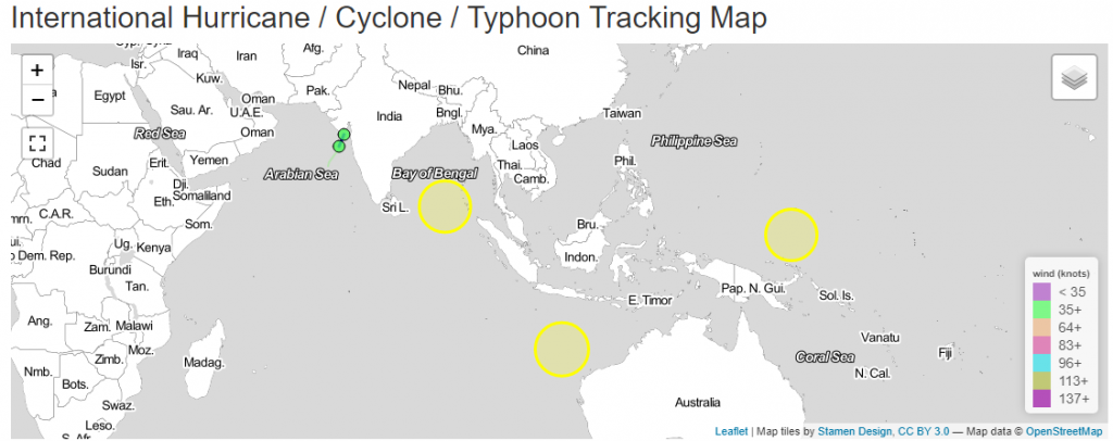 interactive map on cyclones and hurricanes