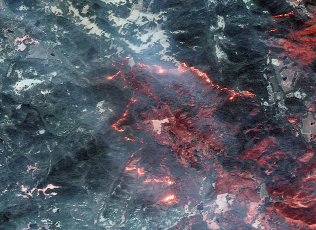 A satellite image of California wildfires