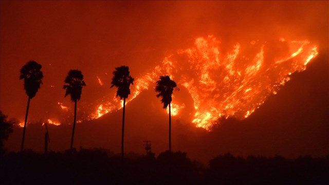 Wildfire in Ventura County of Southern California