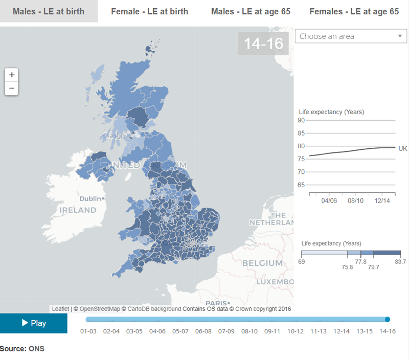Image of the interactive life expectancy map
