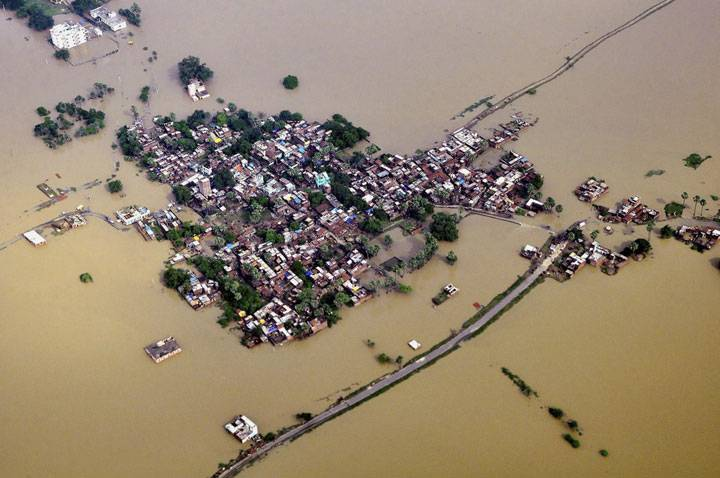 Aerial image of the Bihar floods