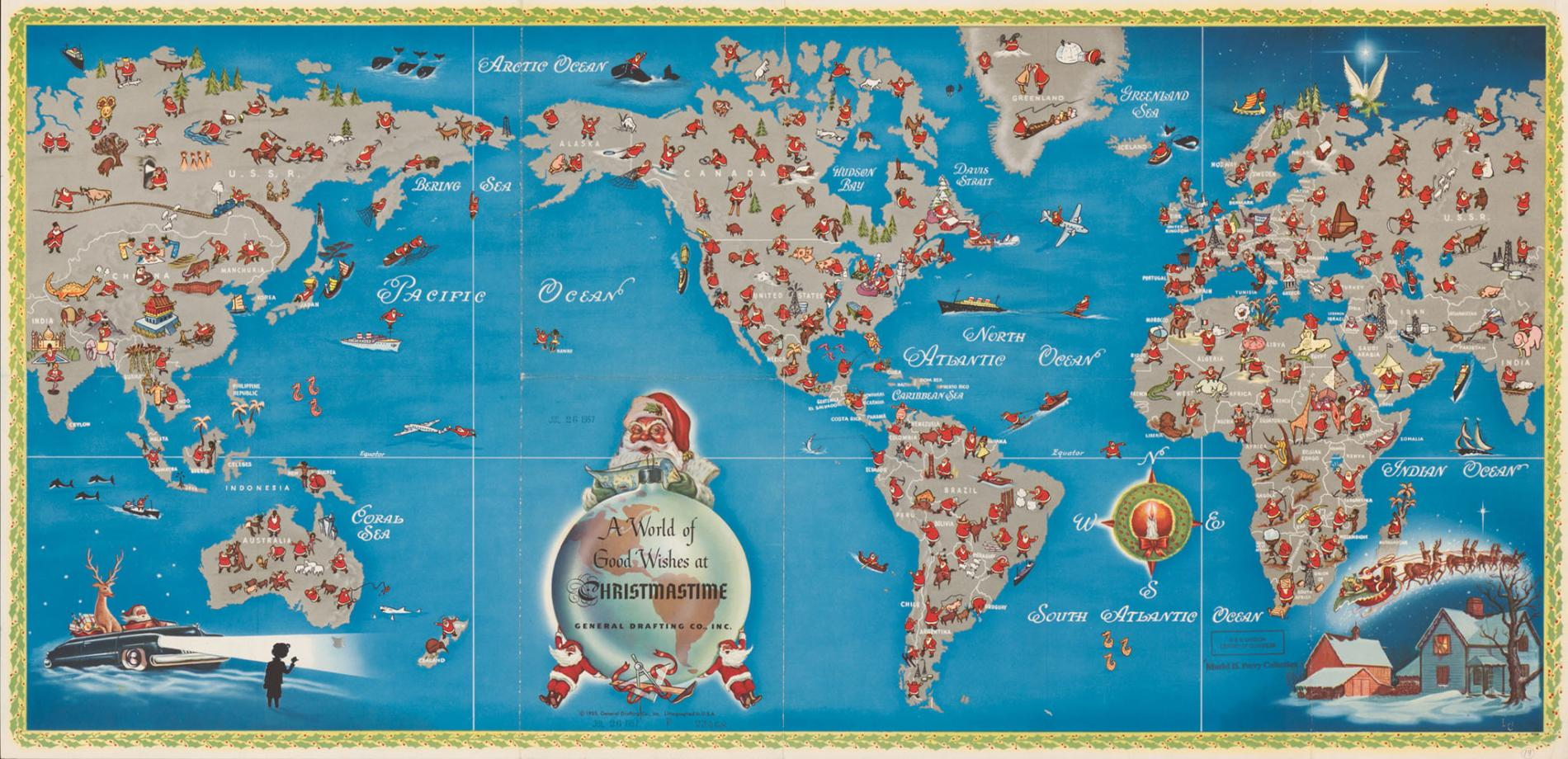 A classical map shows the journey of santa claus across the globe 1955 map of santa claus on a world tour gumiabroncs Gallery