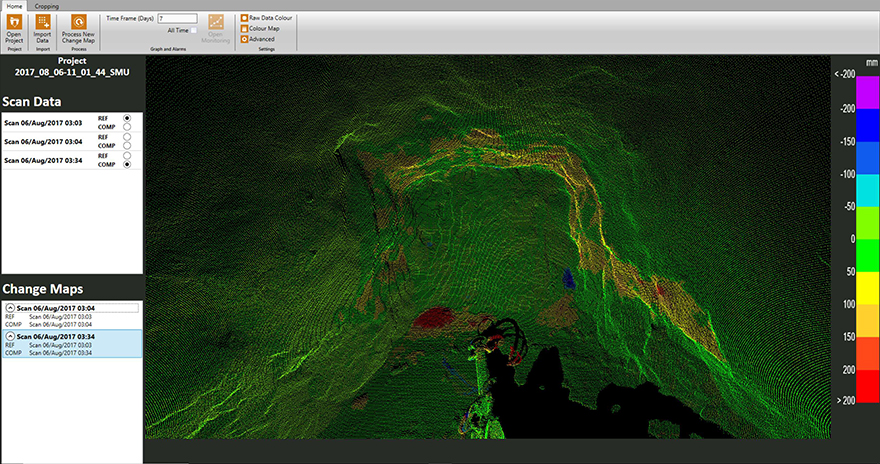 A scan of a tunnel construction project using the Processmonitor Live system real-time interface