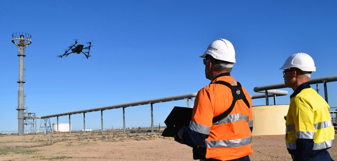 Airscope, a Perth, Australia-based inspections and asset visualization company, uses the Intel Falcon 8+ drone to capture highly accurate images to create 3-D models. The Intel Falcon 8+ drone is a multirotor-style drone that, through pre-programmed flight plans, is able to capture hundreds of aerial images per flight. (Credit: Intel Corporation)