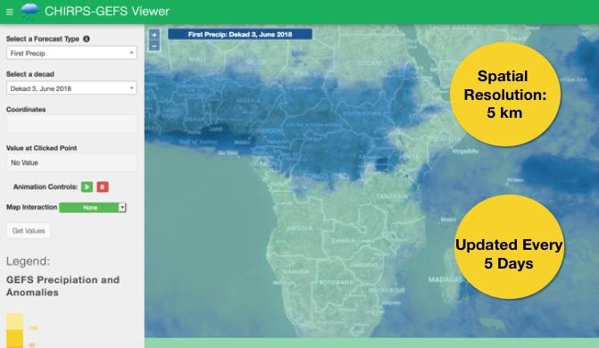 Visualization of CHIRPS-GEFS daily rainfall dataset