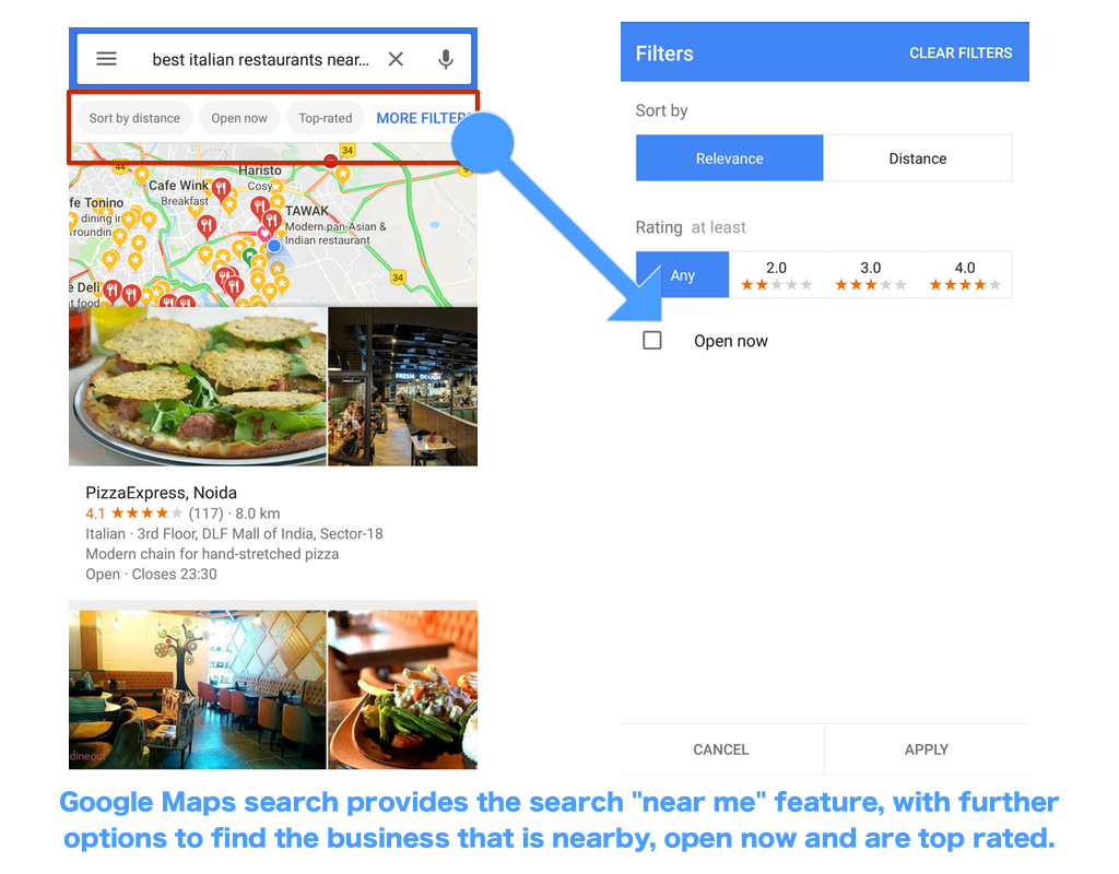 "An example of ""near me"" search and how it works in Google Maps."