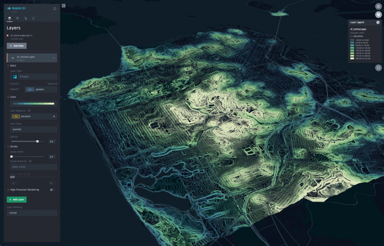 kepler.gl is a data agnostic, high-performance web-based application for large-scale geospatial visualizations