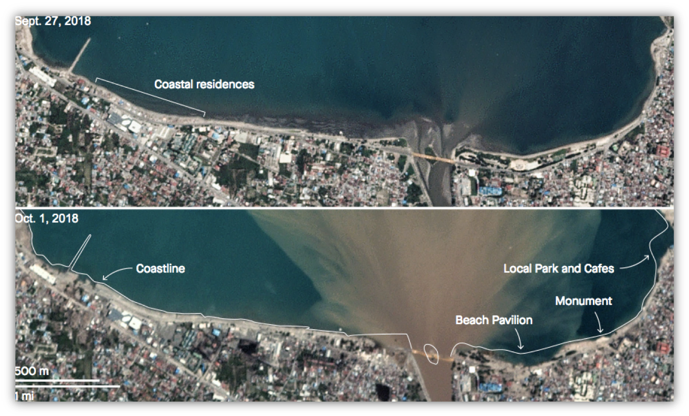 Satellite images show how residential areas along the coastline in Indonesia completely disappeared following the devastating earthquake and tsunam in September 2018.