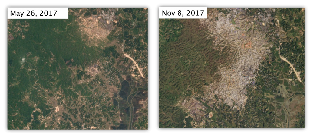 Planet imagery used by Reuters to track Kutupalong and Balukhali extension sites and camps for Rohingya refugees in Bangladesh.