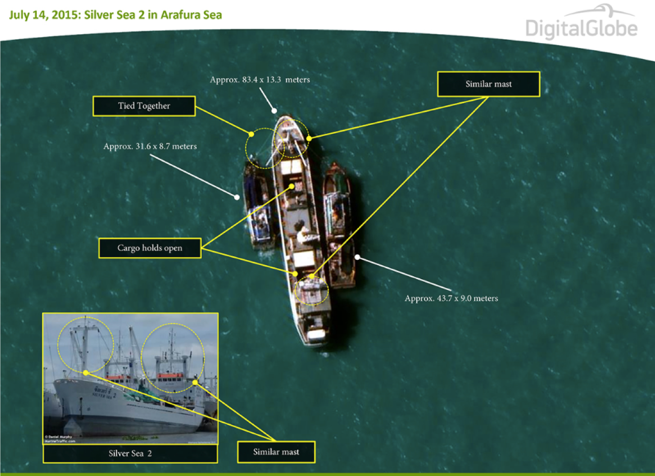 "DigitalGlobe provided the ""smokin gun"" image to Associated Press that showed two trawlers loading slave-caught seafood onto a commercial cargo ship."