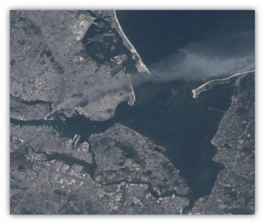 9/11 image captured from International Space Station by NASA Astronaut Frank Culbertson, the only American off the planet at that time, shows a plume of smoke.