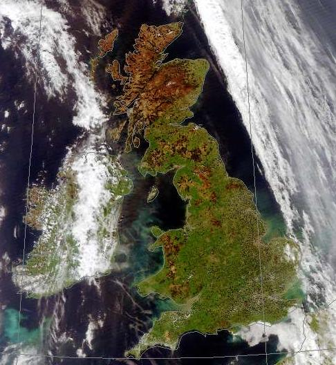A cropped image from the MODIS sensor received by Dundee station
