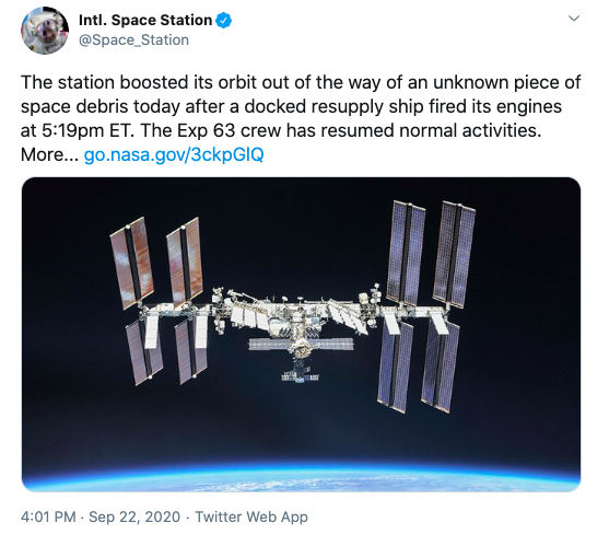 ISS collision space traffic management