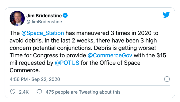 Commerce in charge of space traffic management