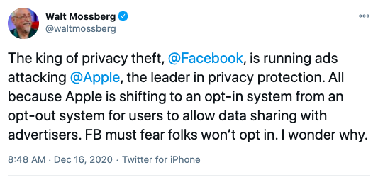 Facebook Apple data privacy war